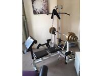 Weight bench with 120kg weights & bars