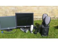 Dell monitors and speakers including a small sub