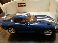 Bburago Dodge Viper GTS Coupe 1996 Replica Car Model 1/18 118 cod. 3030 Blue