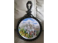 TRIVET, counter saver, pot holder, wrought iron, coloured picture Neuschwanstein Castle, Germany. gc