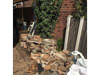 Bricks, slabs and concrete.