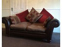 Designer DFS Perez leather & fabric 2 seater sofa RRP £1198