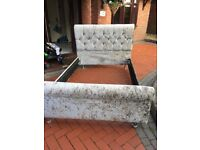 3/4 silver crushed velvet sleigh bed