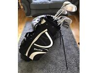 Full set of golf clubs and stand bag, 3-SI, D,3+5W, DI & Putter