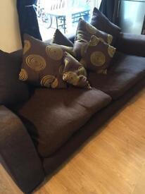 Four Seater Sofa. Brown