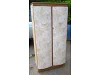 Fabulous Retro Wardrobe in Excellent Condition Unusual Patterned Doors Compartments Inside Stylish