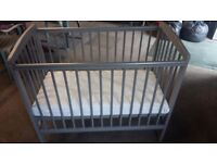 Silver / grey baby cot, hardly used over the last 12 months,only on odd weekends