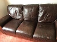 3-seat leather sofas (two of them)