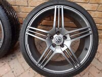 4x 8.5 X 19 inch Riva Mag Alloy Wheels and great (235/35 X 19) tyres.