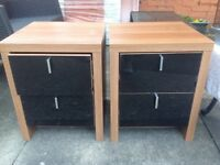 Bedside drawers/tables , immaculate pair of wood effect with black gloss effect drawers.