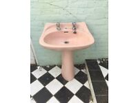 **VINTAGE**RETRO**PINK**PEDESTAL AND BASIN**NO CHIPS**GOOD CONDITION**WITH TAPS**