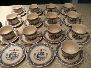 JOHNSON BROS HEARTS + FLOWERS 13 CUPS + SAUCERS