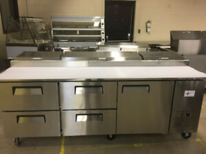 pizza and salad prep tables on sale