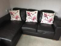 Brown leather Next corner sofa