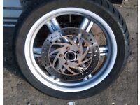 2011 Aprilia SportCity Front wheel, good condition, no disks, tire OK, SILVER colour