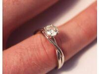 Engagement Ring, 14 ct white gold, 0.77 Diamond