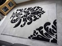 NEW - large, beige and black damask rugs, 160cm x 230cm - 2 available