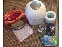 Baby items - Pink Lining changing bag, nappy bin
