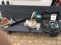 3 work tools. Router, Compound mitre saw & Electric chain saw