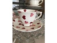 Emma Bridgewater Pink heart small tea cup and saucer