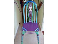 GREAT WOODEN CHAIR - PAINTED IN QUERKY SHABBY CHIC DESIGN / COLOURS