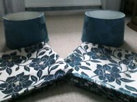 6 chenille cushion covers and 2 matching lamp shades.