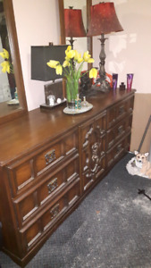 1970's wood dresser w/ mirrors..pick up only  FREE