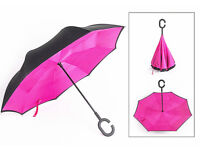 New Pink + Black Reverse Umbrella Double Layer Modern Upside Down C-Handle Windproof Hand Free