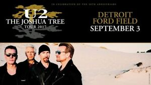 2 Main Floor U2 Tickets Ford Field Sept. 3