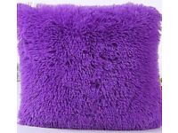 2 GORGEOUS PURPLE FURRY CUSHIONS WITH ZIPS
