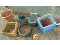 Selection of garden plant pots, ornamental etc