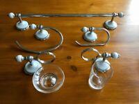 Five piece bathroom accessories set