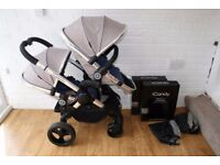 iCandy Peach 3 double tandem pram (grey / blue Azure) CAN POST