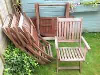 Garden table and 4 chairs needing restoration