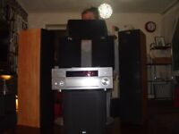 kef yamaha and b&w spaekers stands subwoofer and reciever