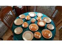 Vintage peach lustre dinner set service