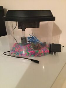 Fish tank with filter rocks and 2 decor