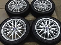 "Ford Focus mondeo transit connect 17"" alloy wheels 5stud all very good tyres"