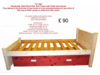 Handmade Solid Wood Kids Bed Frame with Under bed drawer