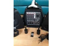 DJ Tech portable PA System 5 channel mixer/amp & speakers