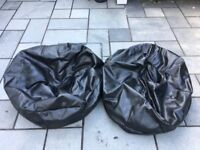 2x Faux Leather Bean Bags