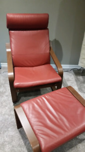 Ikea poäng chair and foot stool - red leather