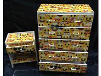 EMOJI THEMED CHEST OF DRAWERS AND BEDSIDE CABINET