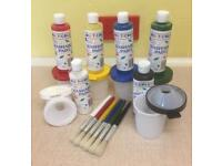 NEW 18 Piece Washable Paint Equipment, Smock & Book