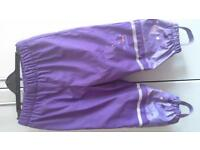 Girls waterproof trousers 1-2 years