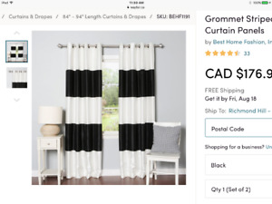 NWT black and white rugby stripe blackout curtains