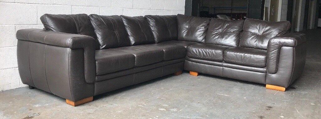 £2000 brown leather corner sofa WE DELIVER UK WIDE