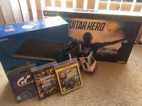 Playstation 3 SuperSlim 500GB, Guitar Hero, GTA 5, Gran Turismo, Little Big Planet