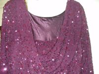 LOVELY CRIMSON SPARKLY COWL NECKLINE EVENING / PROM DRESS SIZE 22 AS NEW