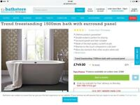 Bathstore Trend 1500 x 800 Freestanding Bath RRP £749 save £400